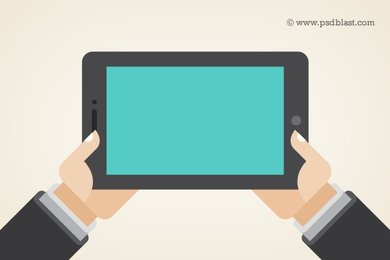Vector Shape Hand Holding a Touchpad PC,Tablet (PSD)