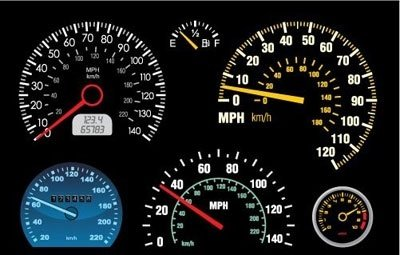 Set of speedometer and counter