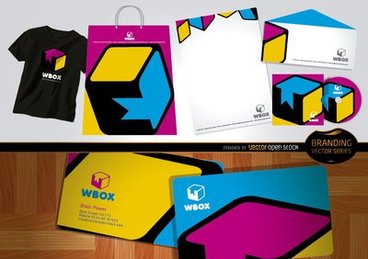 Branding WBox design for stationery and t-shirts