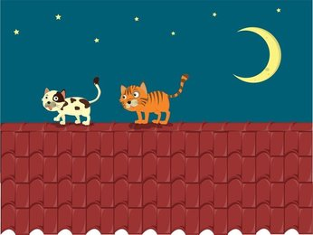 Vector Cat On The Roof