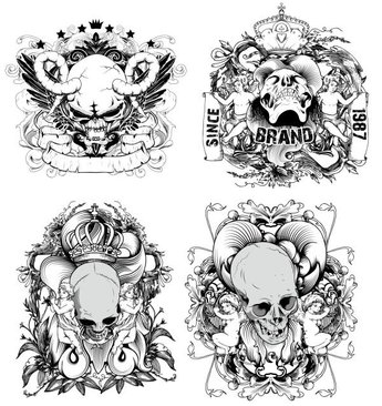 Hand-drawn Line Draft Devil And The Angel - Vector Material Illustration Skull Crown