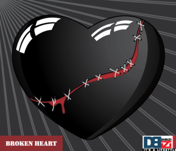 Stitched Broken Heart on Sunburst Background Free
