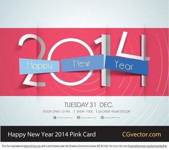 Free Vector Pink Happy New Year 2014 Card