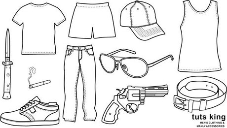 Male clothing items to wear line drawing