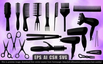 19 Vector hair combs