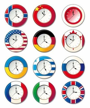 Vector Clock with Different National Flags