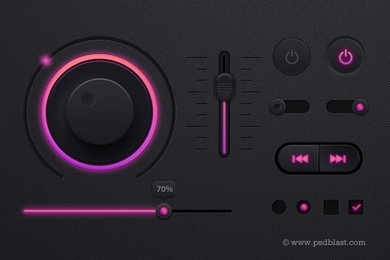 Music Player UI kit PSD, Dark Theme UI design
