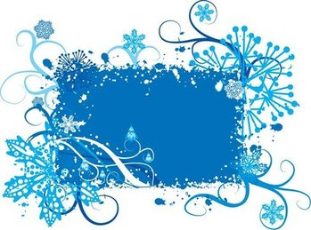 Blue Snowflake and Floral Background