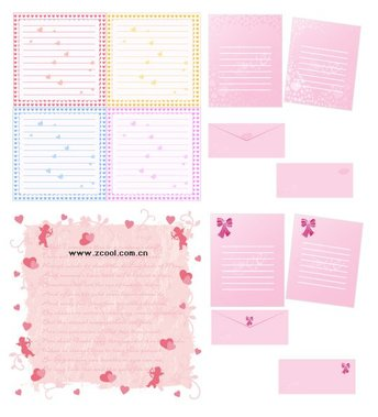 Heart-shaped vector material stationery