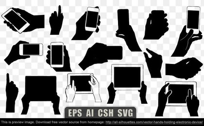 17 Vector hands holding electronic device