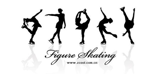 Women's skating action silhouette