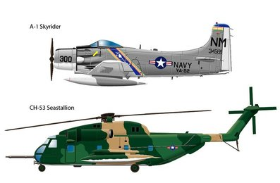 Two side views of 60's Vietnam airplanes