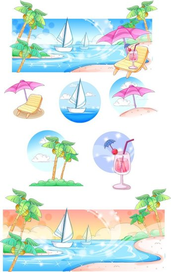 Summer Style Handdrawn Style Vector Series 3