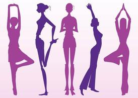 Stretching Girls Silhouettes