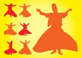 Turkish Dancers Silhouettes