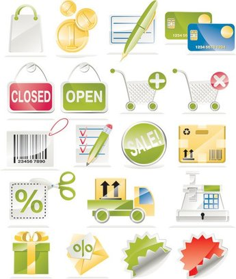 Shopping Sales icons Vector set of material