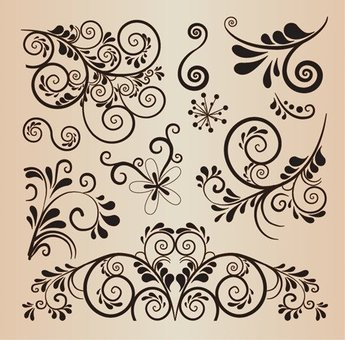Floral Decorative Design Vector Elements