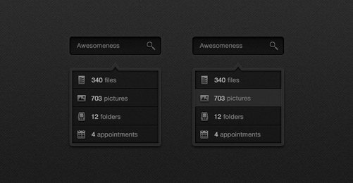 Dark Search Box & Drop Down (PSD)