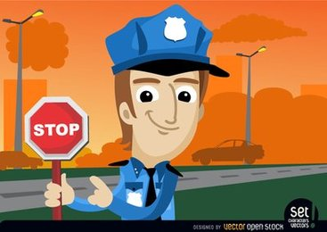 Policeman with stop warning