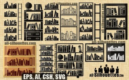 20 Free Vector Bookshelves