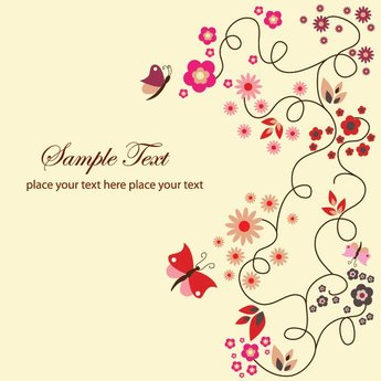 Cute Floral Swirl Background Vector with Butterflies (Free)