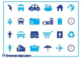 Blue Icons Set Graphics