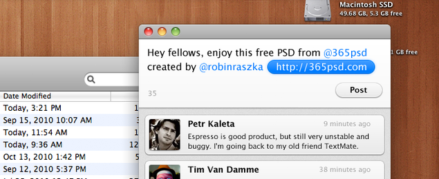 Mac OS X Twitter User Interface