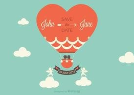 Free Vector Save The Date Hot Air Balloon