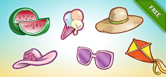 Summer colorful beach Icon Set