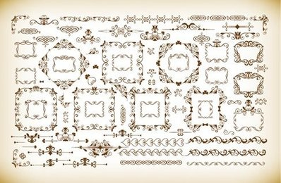 Vector Set of Vintage Frames and Dividers