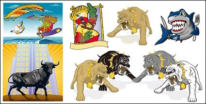 The image of several cartoon animals