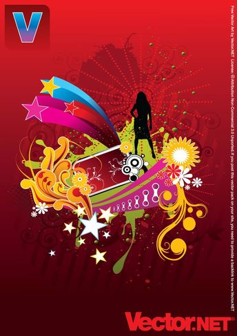 Free Vector Woman Silhouette on Abstract Flower Background