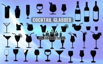 36 Free vector cocktail glasses