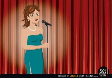 Girl Singer Performing in a Theater