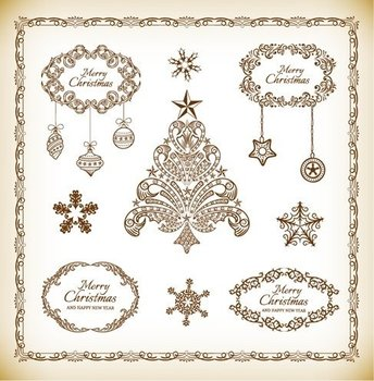 Christmas Decoration Element Vector Collection