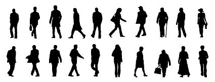 Office workers and people silhouettes