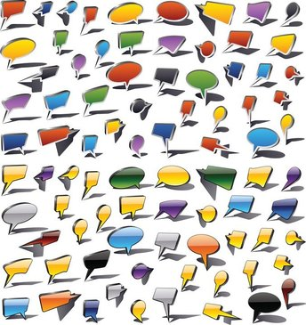 Colorful Speech Bubbles And Dialog Balloons