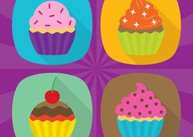 Flat Cupcake Vector Icons