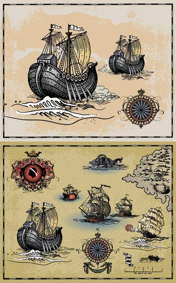 Ancient warships sailing