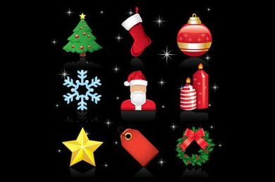 Glossy Christmas Ornament Icon Pack