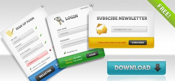 UI PSD Pack Sign up forms, login panels, subscribe forms + download buttons