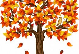 Brown autumn tree