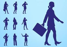 Businesswomen Silhouettes Set