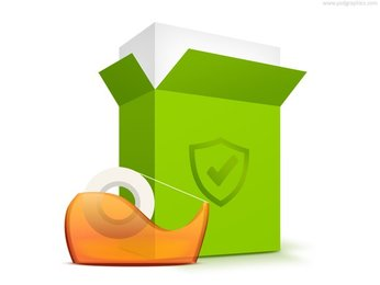 Packing box, shipping icon (PSD)