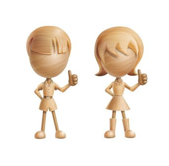 3D Vector Characters made of Wood