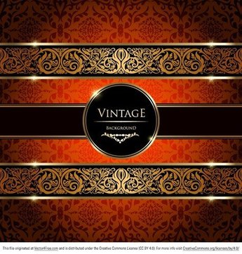 Gold Damask Vintage Background