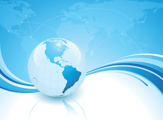 Blue Business Background with World Globe (Free)
