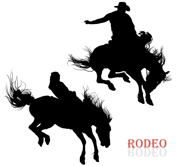 Cowboy Riding Horse in Rodeo Vector Art