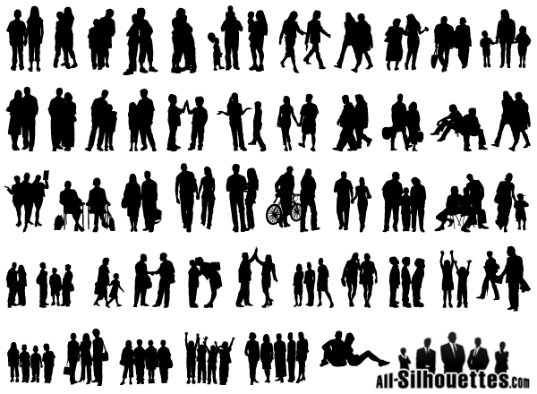 Group Of People Vector Silhouette Free