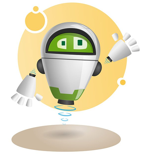 Cartoon Characters As Robots : Flying robot vector character psd